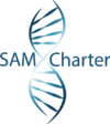 Blue SAM CHARTER text with a DNA Strand